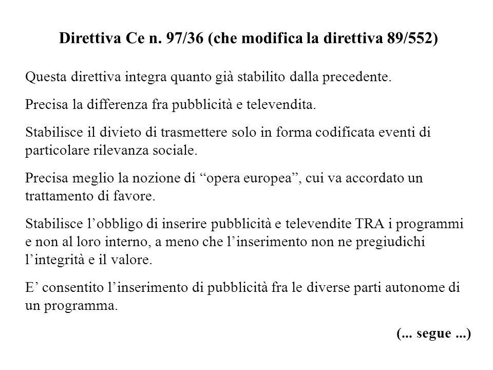 Direttiva Ce n. 97/36 (che modifica la direttiva 89/552) Questa direttiva integra quanto già stabilito dalla precedente. Precisa la differenza fra pub
