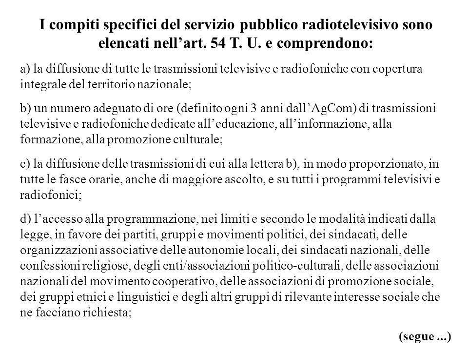 I compiti specifici del servizio pubblico radiotelevisivo sono elencati nellart. 54 T. U. e comprendono: a) la diffusione di tutte le trasmissioni tel