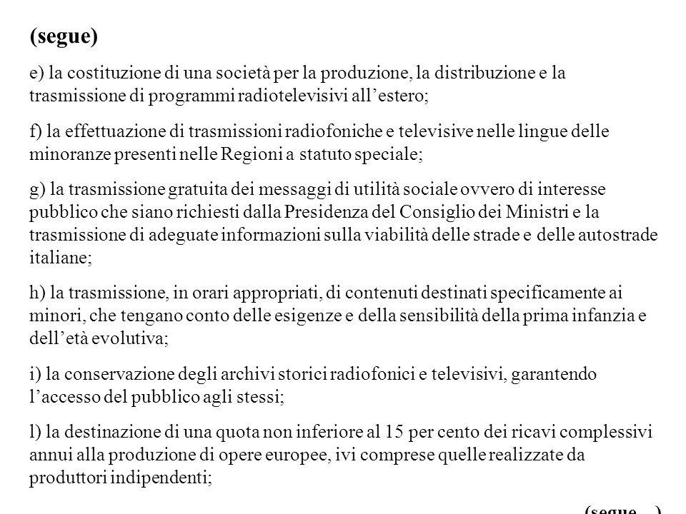 (segue) e) la costituzione di una società per la produzione, la distribuzione e la trasmissione di programmi radiotelevisivi allestero; f) la effettua