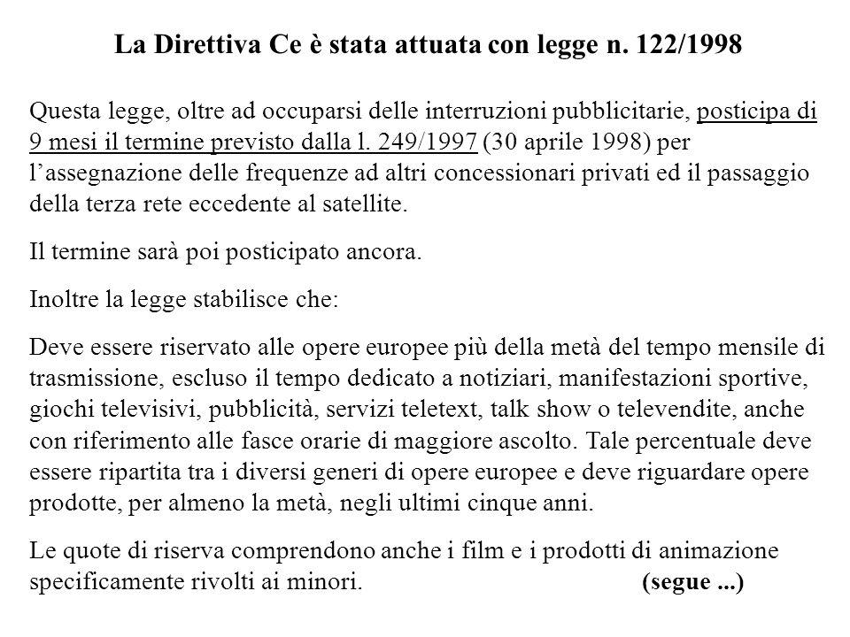 La Direttiva Ce è stata attuata con legge n. 122/1998 Questa legge, oltre ad occuparsi delle interruzioni pubblicitarie, posticipa di 9 mesi il termin