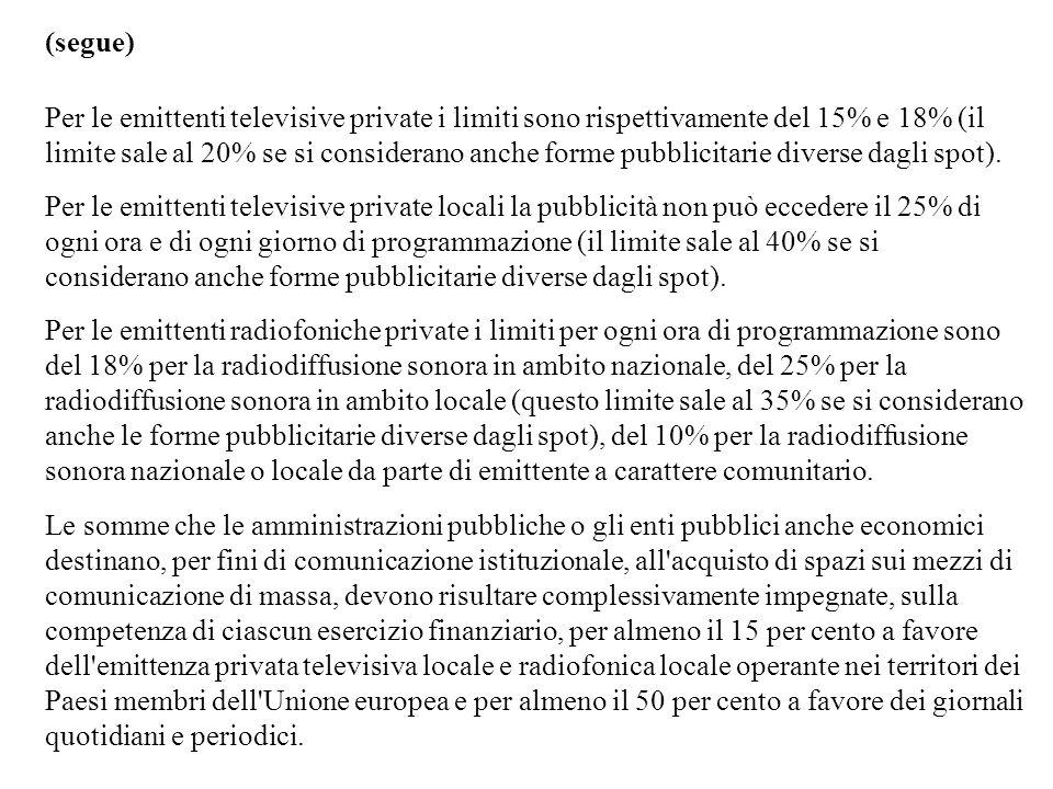 (segue) Per le emittenti televisive private i limiti sono rispettivamente del 15% e 18% (il limite sale al 20% se si considerano anche forme pubblicit