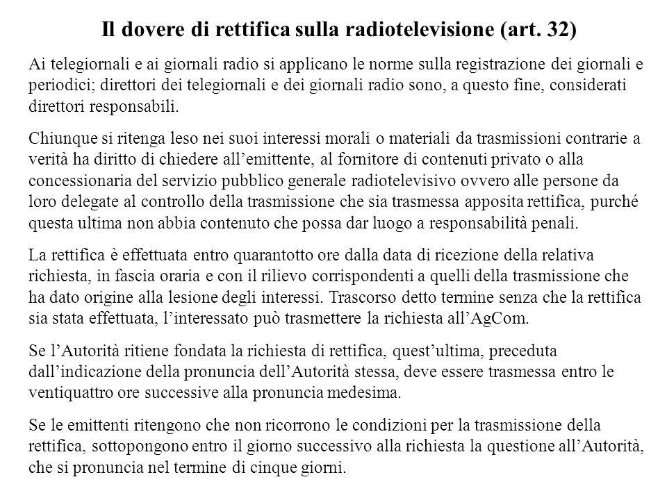 Il dovere di rettifica sulla radiotelevisione (art. 32) Ai telegiornali e ai giornali radio si applicano le norme sulla registrazione dei giornali e p