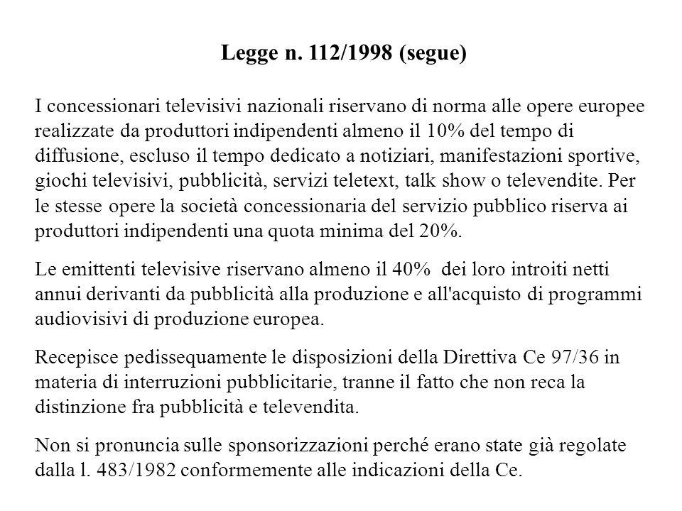 Legge n. 112/1998 (segue) I concessionari televisivi nazionali riservano di norma alle opere europee realizzate da produttori indipendenti almeno il 1