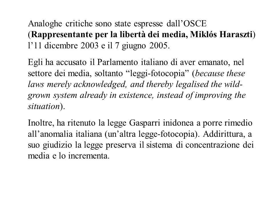 Analoghe critiche sono state espresse dallOSCE (Rappresentante per la libertà dei media, Miklós Haraszti) l11 dicembre 2003 e il 7 giugno 2005. Egli h