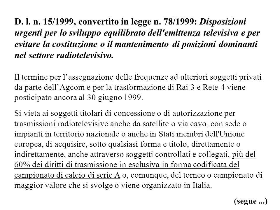 D. l. n. 15/1999, convertito in legge n. 78/1999: Disposizioni urgenti per lo sviluppo equilibrato dell'emittenza televisiva e per evitare la costituz