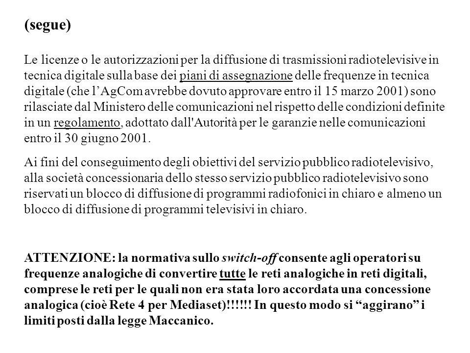 (segue) Le licenze o le autorizzazioni per la diffusione di trasmissioni radiotelevisive in tecnica digitale sulla base dei piani di assegnazione dell