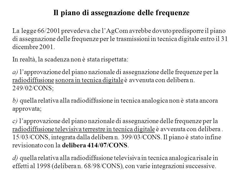 Il piano di assegnazione delle frequenze La legge 66/2001 prevedeva che lAgCom avrebbe dovuto predisporre il piano di assegnazione delle frequenze per