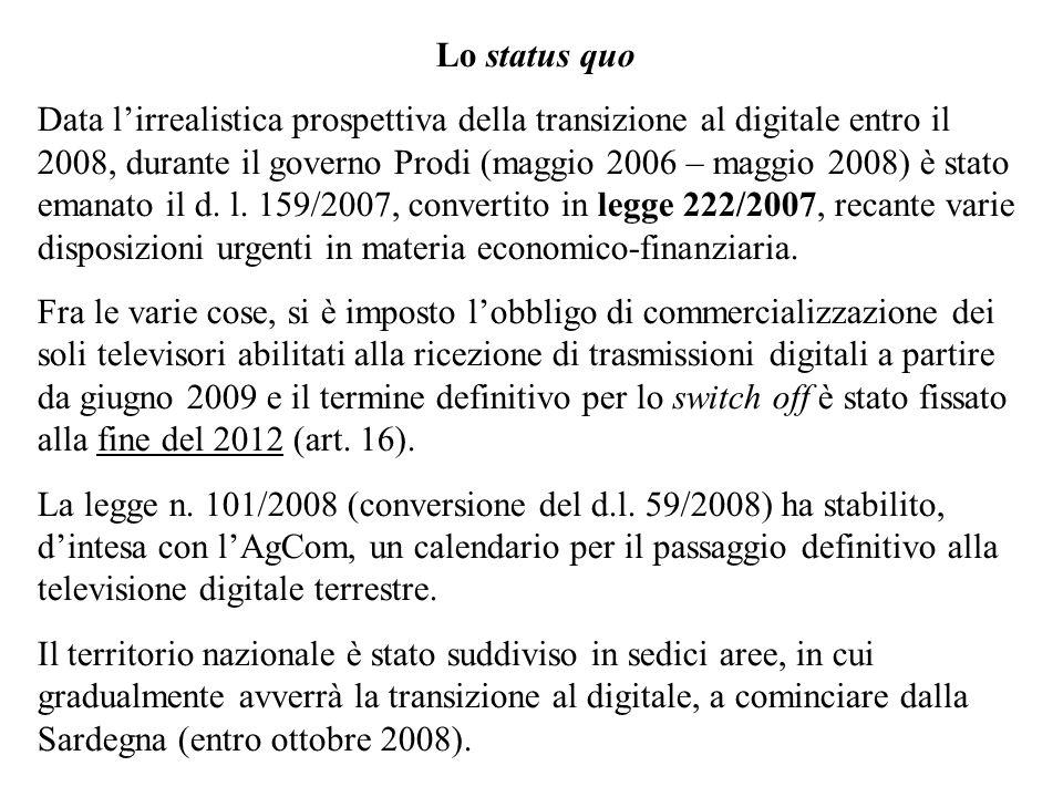 Lo status quo Data lirrealistica prospettiva della transizione al digitale entro il 2008, durante il governo Prodi (maggio 2006 – maggio 2008) è stato