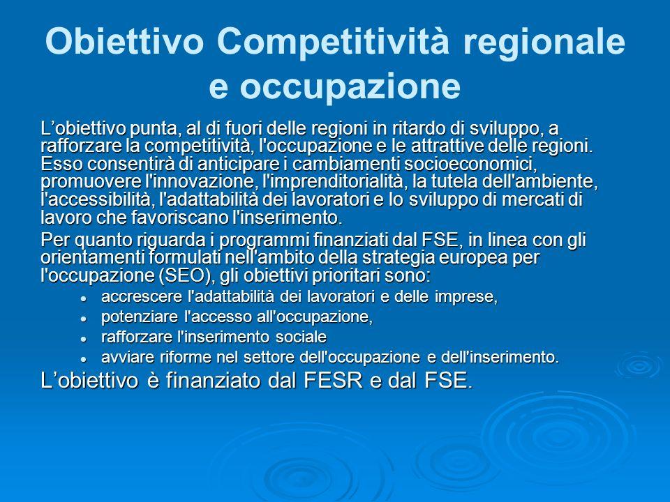 Obiettivo Competitività regionale e occupazione Lobiettivo punta, al di fuori delle regioni in ritardo di sviluppo, a rafforzare la competitività, l occupazione e le attrattive delle regioni.