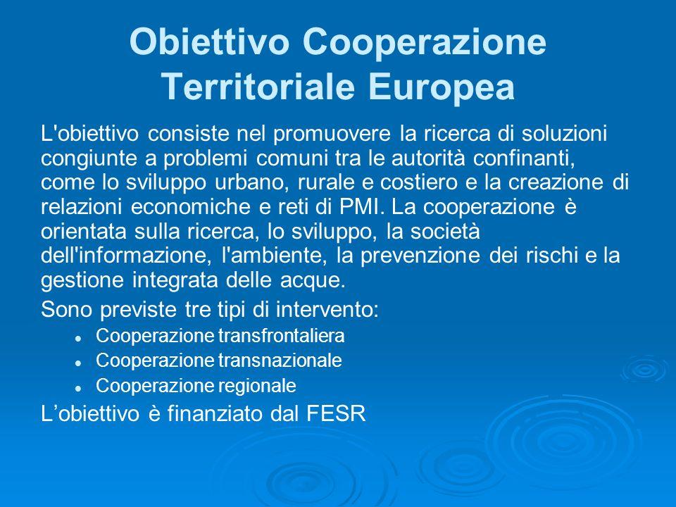 Obiettivo Cooperazione Territoriale Europea L obiettivo consiste nel promuovere la ricerca di soluzioni congiunte a problemi comuni tra le autorità confinanti, come lo sviluppo urbano, rurale e costiero e la creazione di relazioni economiche e reti di PMI.