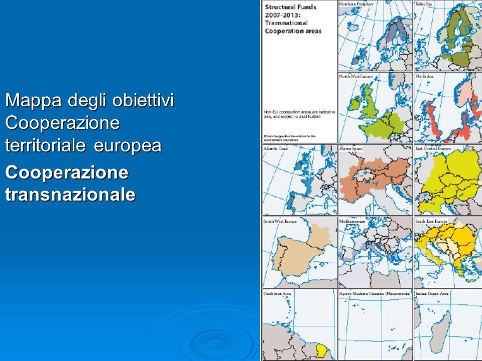 Mappa degli obiettivi Cooperazione territoriale europea Cooperazione transnazionale