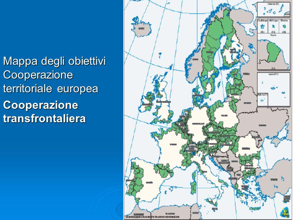 Mappa degli obiettivi Cooperazione territoriale europea Cooperazione transfrontaliera