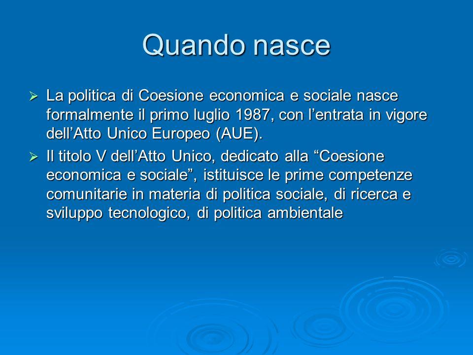 Quando nasce La politica di Coesione economica e sociale nasce formalmente il primo luglio 1987, con lentrata in vigore dellAtto Unico Europeo (AUE).