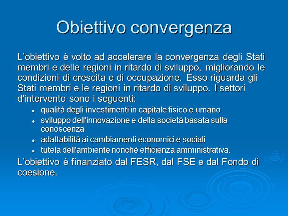 Obiettivo convergenza Lobiettivo è volto ad accelerare la convergenza degli Stati membri e delle regioni in ritardo di sviluppo, migliorando le condizioni di crescita e di occupazione.