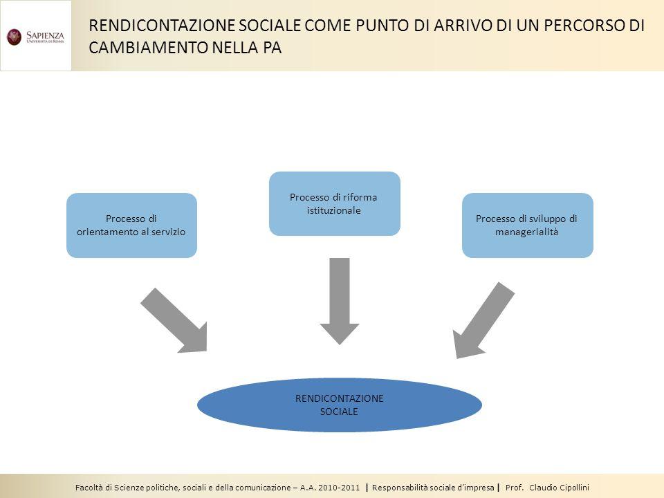 Facoltà di Scienze politiche, sociali e della comunicazione – A.A. 2010-2011 | Responsabilità sociale dimpresa | Prof. Claudio Cipollini RENDICONTAZIO