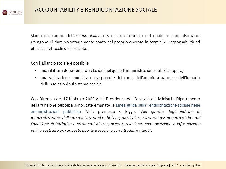 Facoltà di Scienze politiche, sociali e della comunicazione – A.A. 2010-2011 | Responsabilità sociale dimpresa | Prof. Claudio Cipollini Siamo nel cam