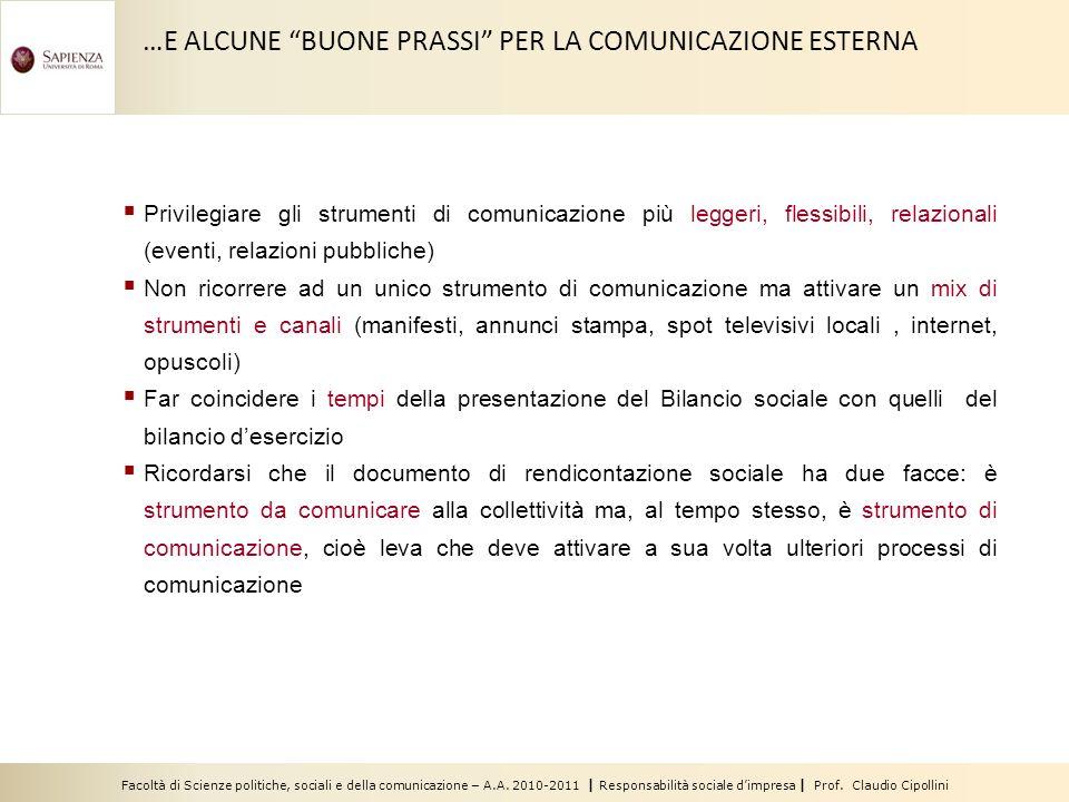 Facoltà di Scienze politiche, sociali e della comunicazione – A.A. 2010-2011 | Responsabilità sociale dimpresa | Prof. Claudio Cipollini …E ALCUNE BUO