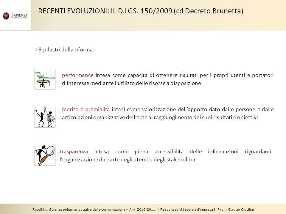 Facoltà di Scienze politiche, sociali e della comunicazione – A.A. 2010-2011 | Responsabilità sociale dimpresa | Prof. Claudio Cipollini I 3 pilastri