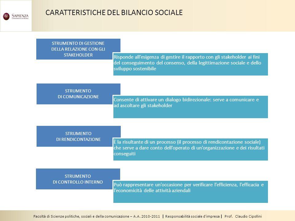 Facoltà di Scienze politiche, sociali e della comunicazione – A.A. 2010-2011 | Responsabilità sociale dimpresa | Prof. Claudio Cipollini STRUMENTO DI
