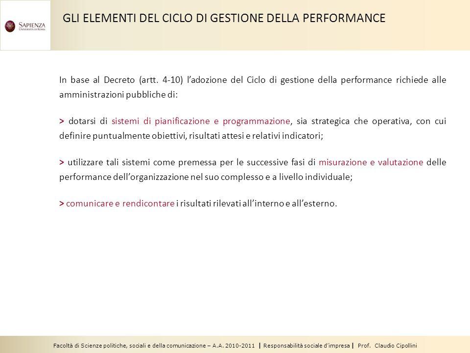 Facoltà di Scienze politiche, sociali e della comunicazione – A.A. 2010-2011 | Responsabilità sociale dimpresa | Prof. Claudio Cipollini In base al De