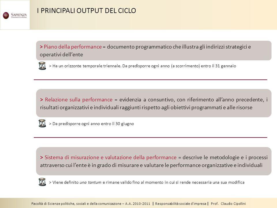 Facoltà di Scienze politiche, sociali e della comunicazione – A.A. 2010-2011 | Responsabilità sociale dimpresa | Prof. Claudio Cipollini I PRINCIPALI