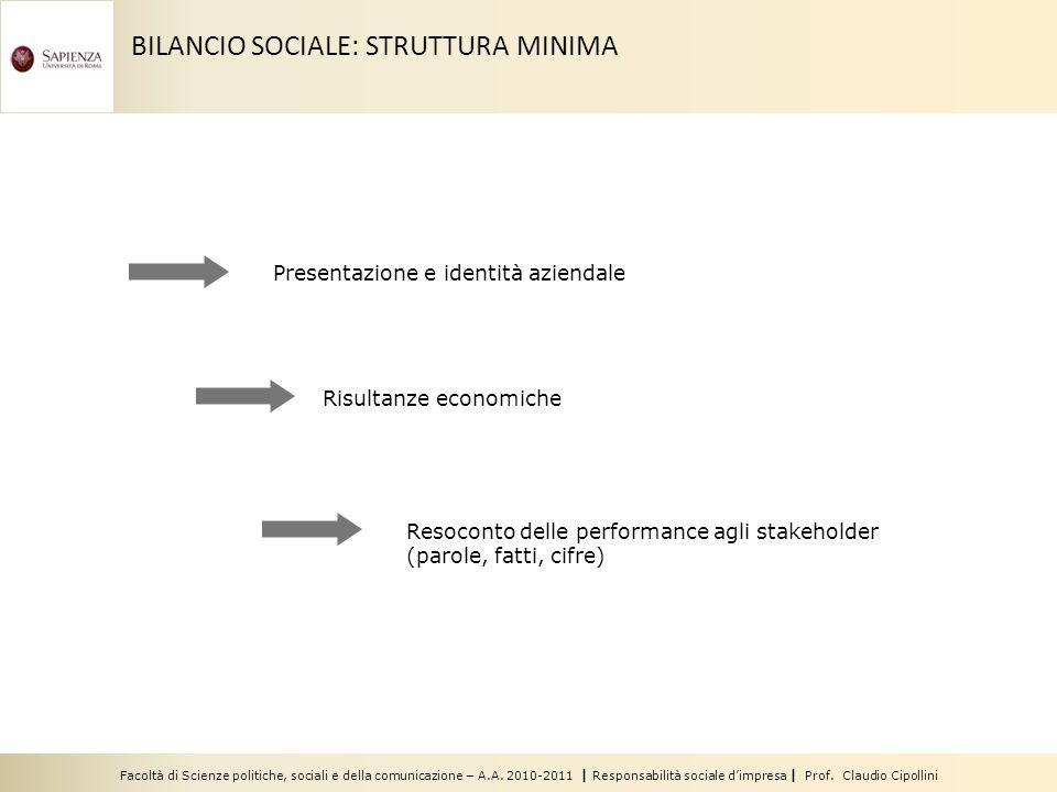 Facoltà di Scienze politiche, sociali e della comunicazione – A.A. 2010-2011 | Responsabilità sociale dimpresa | Prof. Claudio Cipollini BILANCIO SOCI