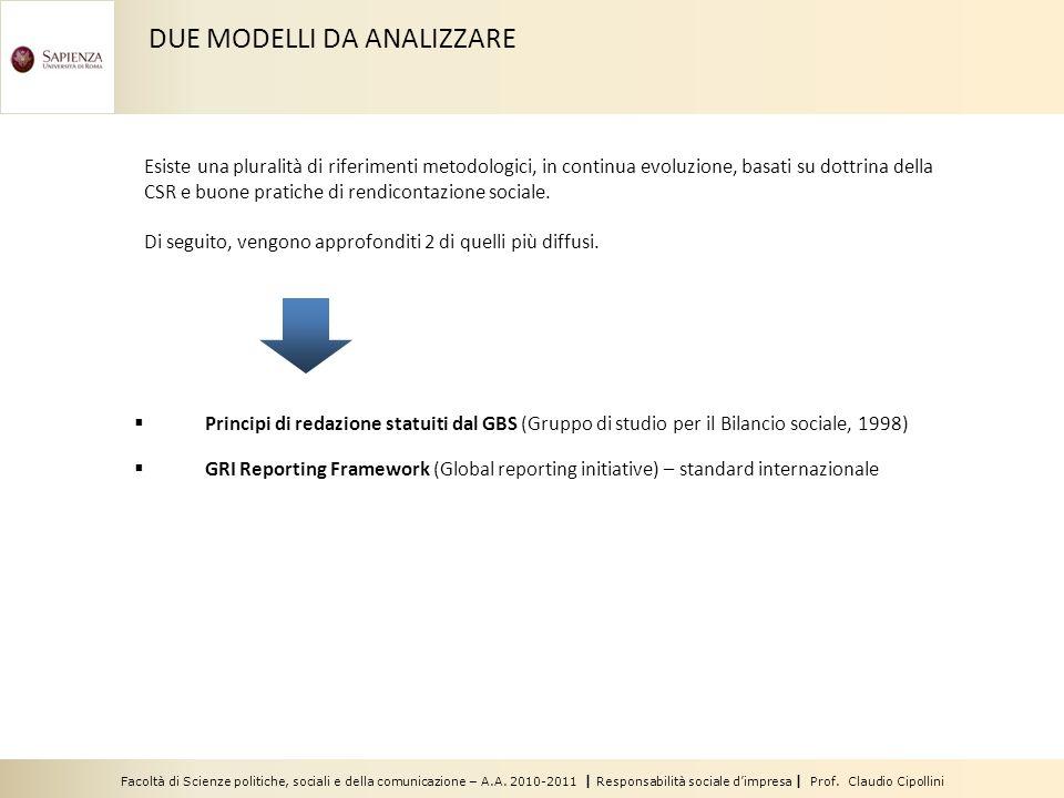 Facoltà di Scienze politiche, sociali e della comunicazione – A.A. 2010-2011 | Responsabilità sociale dimpresa | Prof. Claudio Cipollini Principi di r