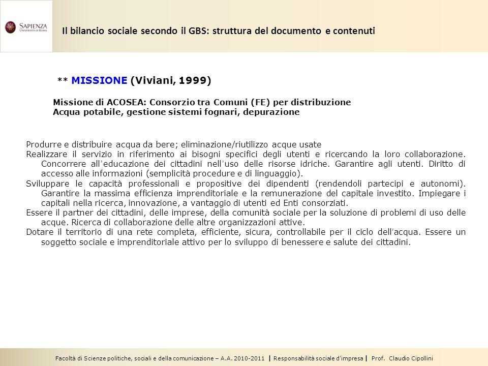 Facoltà di Scienze politiche, sociali e della comunicazione – A.A. 2010-2011 | Responsabilità sociale dimpresa | Prof. Claudio Cipollini Produrre e di