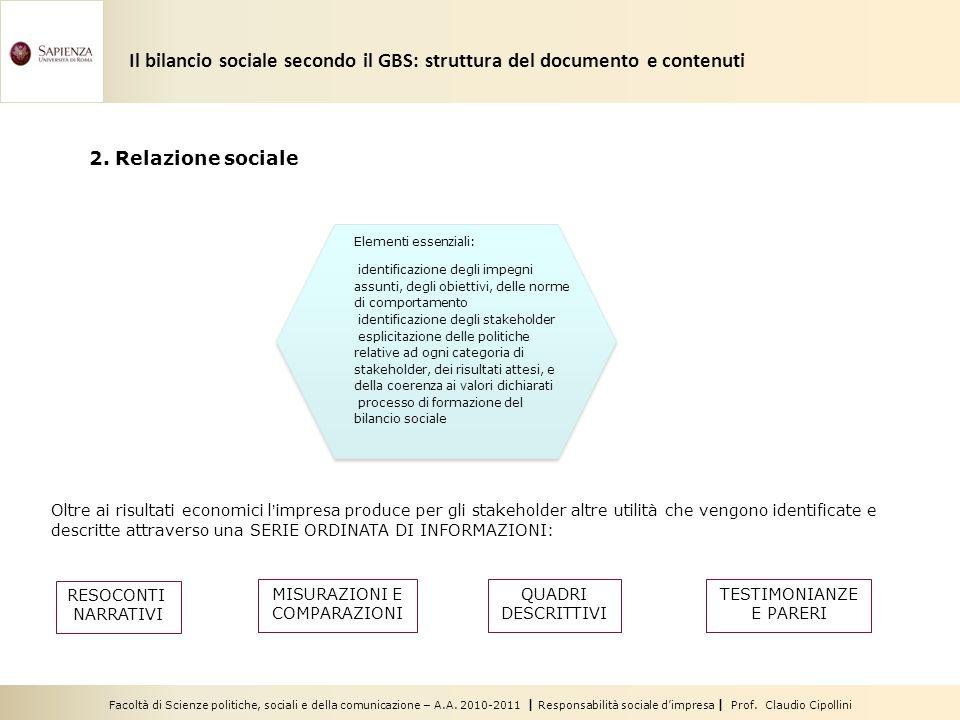 Facoltà di Scienze politiche, sociali e della comunicazione – A.A. 2010-2011 | Responsabilità sociale dimpresa | Prof. Claudio Cipollini 2. Relazione
