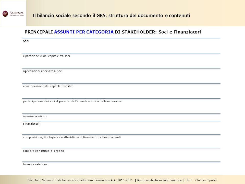 Facoltà di Scienze politiche, sociali e della comunicazione – A.A. 2010-2011 | Responsabilità sociale dimpresa | Prof. Claudio Cipollini Soci ripartiz
