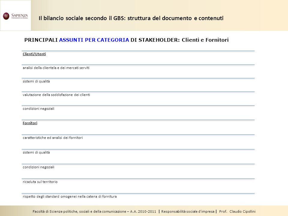 Facoltà di Scienze politiche, sociali e della comunicazione – A.A. 2010-2011 | Responsabilità sociale dimpresa | Prof. Claudio Cipollini Clienti/Utent