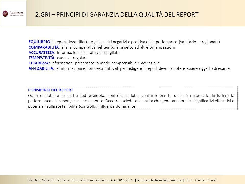 Facoltà di Scienze politiche, sociali e della comunicazione – A.A. 2010-2011 | Responsabilità sociale dimpresa | Prof. Claudio Cipollini EQUILIBRIO: i