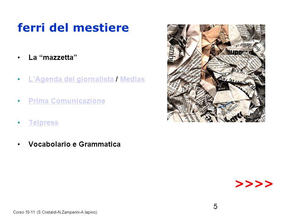 5 ferri del mestiere La mazzetta LAgenda del giornalista / MediasLAgenda del giornalista Medias Prima Comunicazione Telpress Vocabolario e Grammatica