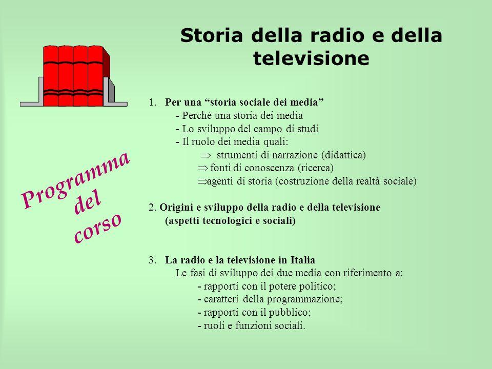 Programma del corso Storia della radio e della televisione. Per una storia sociale dei media - Perché una storia dei media - Lo sviluppo del campo di