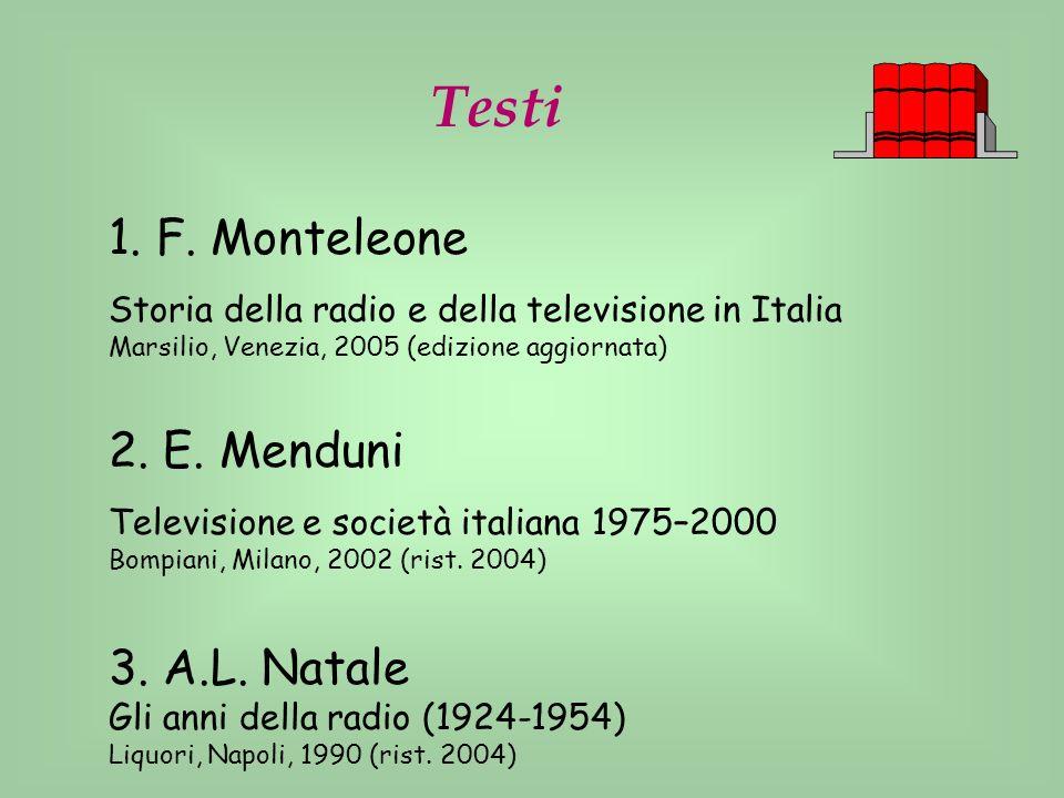 Testi 1. F. Monteleone Storia della radio e della televisione in Italia Marsilio, Venezia, 2005 (edizione aggiornata) 2. E. Menduni Televisione e soci