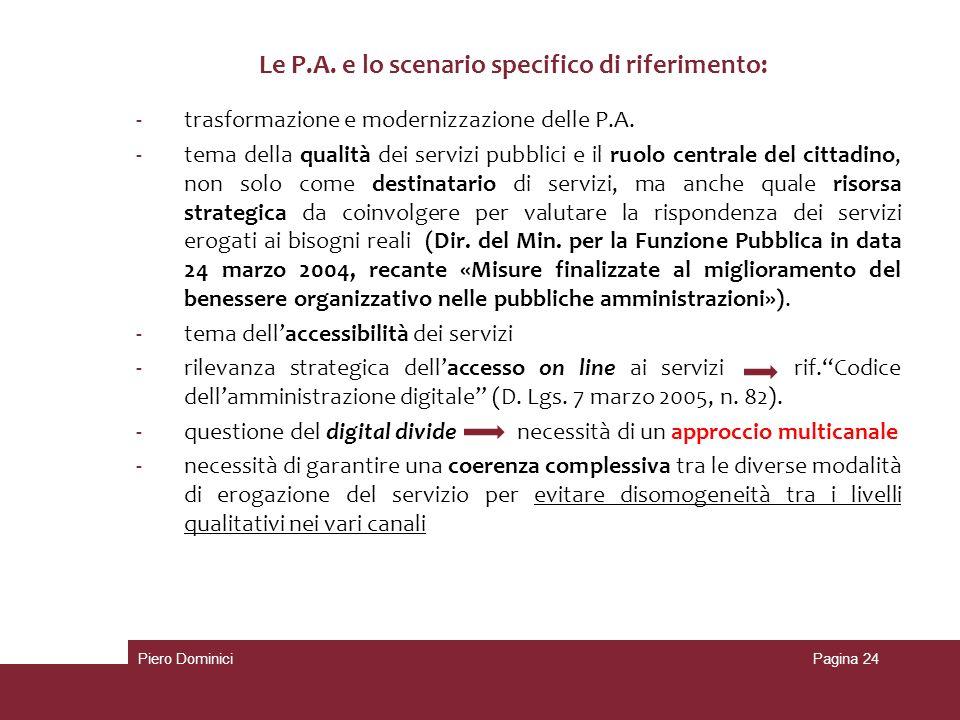 -trasformazione e modernizzazione delle P.A. -tema della qualità dei servizi pubblici e il ruolo centrale del cittadino, non solo come destinatario di