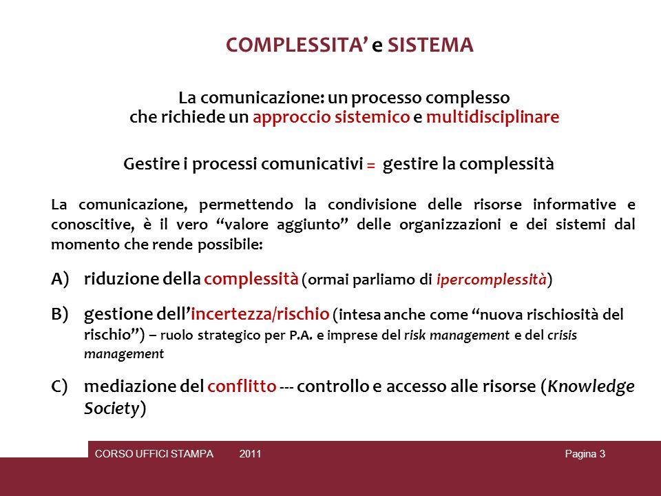 CORSO UFFICI STAMPA 2010 2011Pagina 4 La comunicazione è un processo complesso dalle molteplici implicazioni di natura… pragmatica I assioma = E IMPOSSIBILE NON COMUNICARE = non esiste un comportamento che non sia comunicativo e non esiste un non- comportamento (metacomunicazione) II assioma = la comunicazione è caratterizzata da un aspetto di contenuto e da un aspetto di relazione (metacomunicazione) III assioma = la natura della comunicazione dipende dalla punteggiatura delle sequenze comunicative tra mittente e destinatario (ogni attore coinvolto è causa ed effetto dellevento allo stesso tempo) IV assioma = gli esseri umani comunicano sia con il modulo numerico (comunicazione verbale) che con quello analogico (comunicazione non verbale --- aspetti emotivi del comunicare) V assioma = gli scambi comunicativi possono basarsi sulla simmetria o sulla complementarietà
