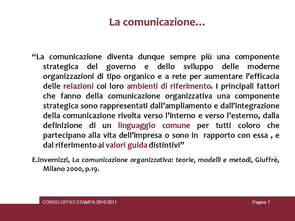 Gli Enti locali e gli obiettivi della comunicazione: far conoscere l Amministrazione, i servizi e i progetti dell ente facilitare l accesso ai servizi e agli atti dell Amministrazione Conoscenza e rilevazione dei bisogni dell utenza miglioramento dell efficacia e dell efficienza dei servizi favorire i processi di sviluppo sociale, economico e culturale accelerare la modernizzazione di apparati e servizi svolgere azioni di sensibilizzazione e policy making CORSO UFFICI STAMPA 2010 2011Pagina 18 Comunicazione interna ---- benessere organizzativo Comunicazione esterna… Condivisione di informazioni e dati Maggiori efficienza ed efficacia Soddisfacimento dei bisogni Raggiungimento degli obiettivi Senso di appartenenza