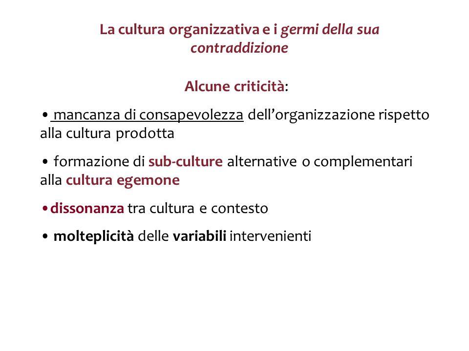 La cultura organizzativa e i germi della sua contraddizione Alcune criticità: mancanza di consapevolezza dellorganizzazione rispetto alla cultura prod
