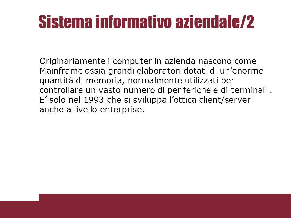 Sistema informativo Vs informatico Il sistema informativo non va confuso con quello informatico che ne costituisce la parte informatizzata.
