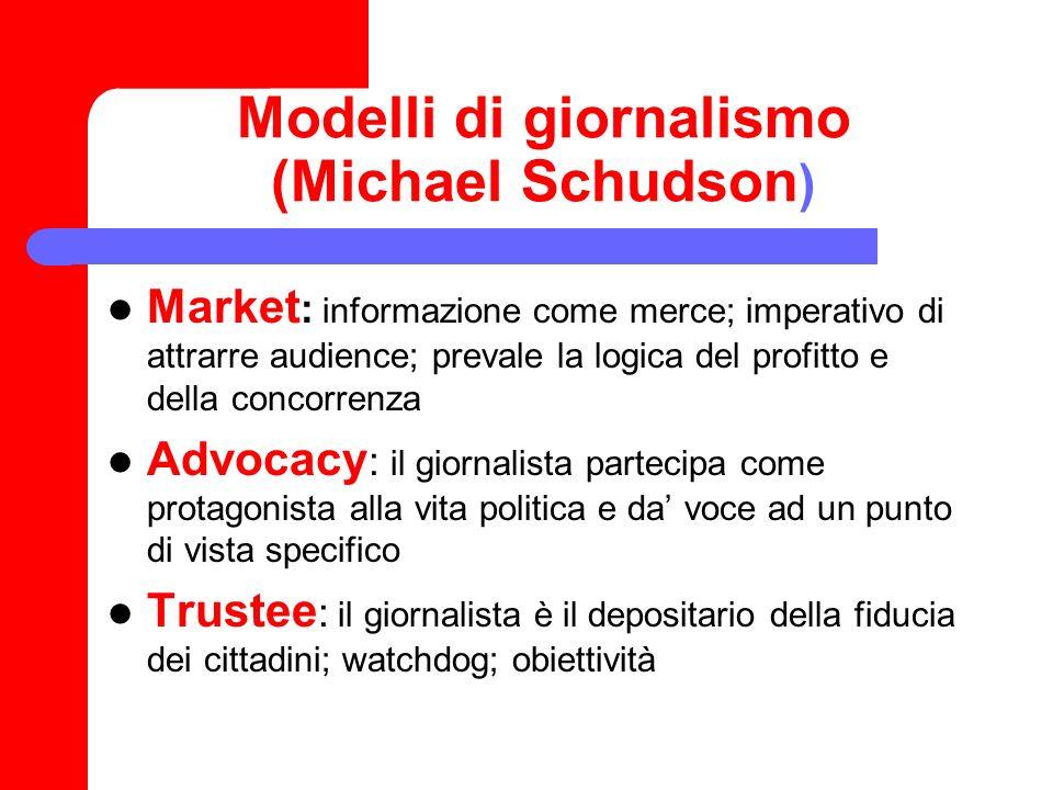 Modelli di giornalismo (Michael Schudson ) Market : informazione come merce; imperativo di attrarre audience; prevale la logica del profitto e della c