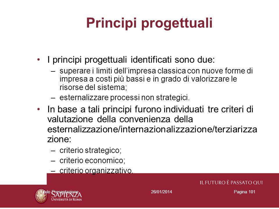 26/01/2014Titolo PresentazionePagina 101 Principi progettuali I principi progettuali identificati sono due: –superare i limiti dellimpresa classica co