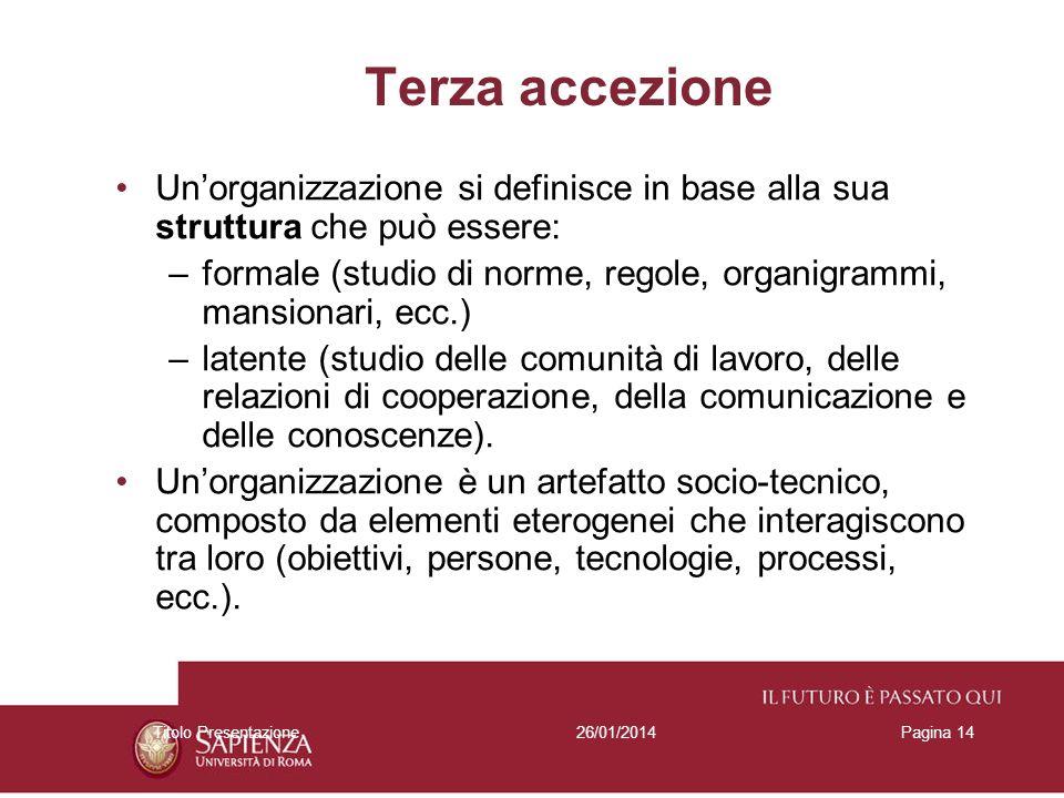 26/01/2014Titolo PresentazionePagina 14 Terza accezione Unorganizzazione si definisce in base alla sua struttura che può essere: –formale (studio di n