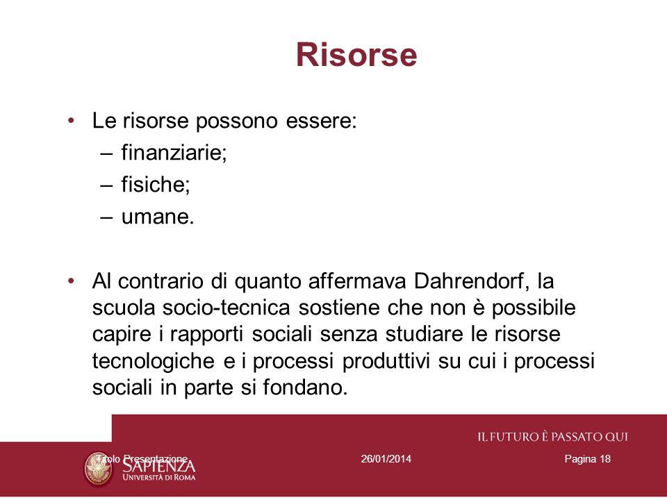 26/01/2014Titolo PresentazionePagina 18 Risorse Le risorse possono essere: –finanziarie; –fisiche; –umane. Al contrario di quanto affermava Dahrendorf