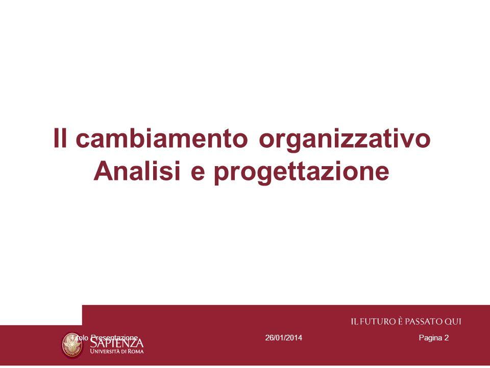 26/01/2014Titolo PresentazionePagina 2 Il cambiamento organizzativo Analisi e progettazione