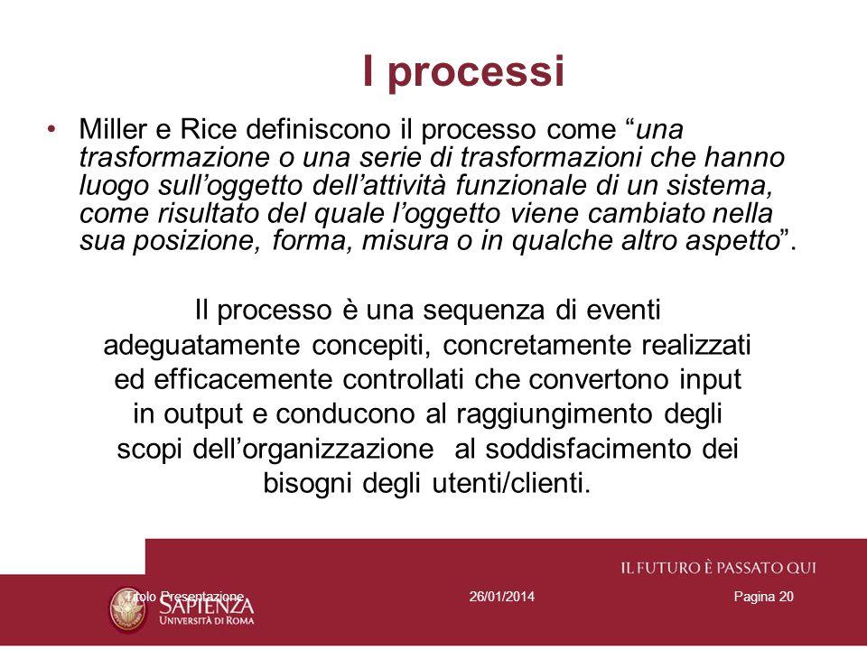 26/01/2014Titolo PresentazionePagina 20 I processi Miller e Rice definiscono il processo come una trasformazione o una serie di trasformazioni che han