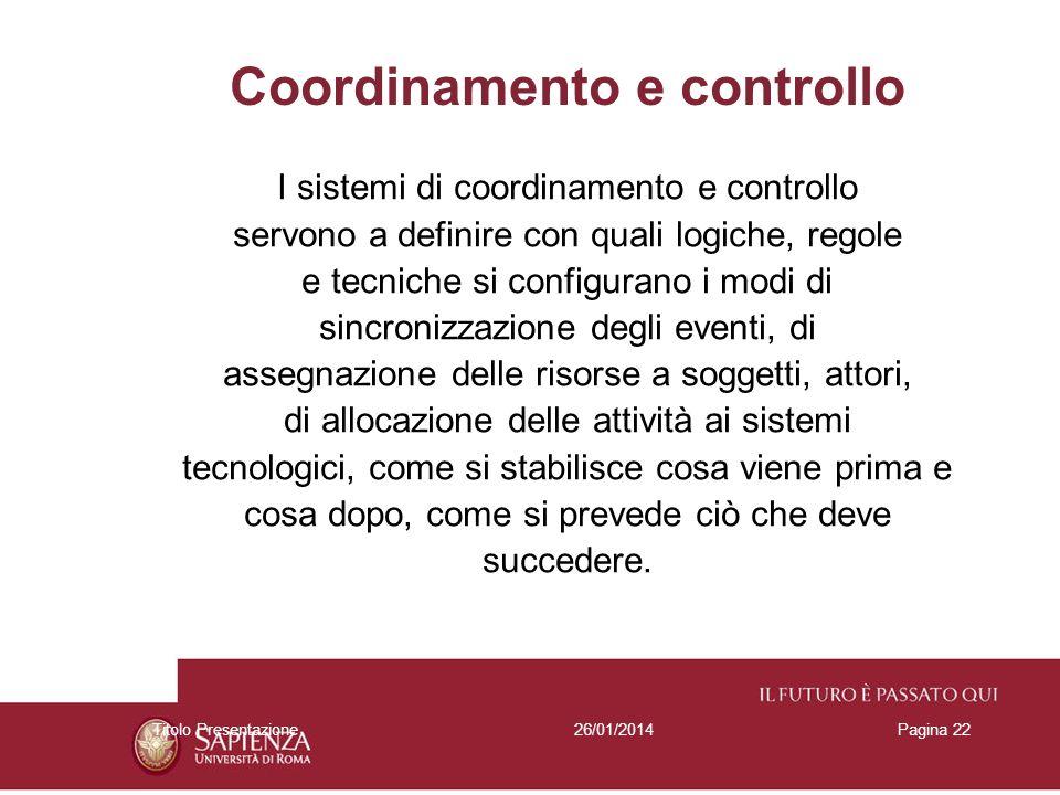 26/01/2014Titolo PresentazionePagina 22 Coordinamento e controllo I sistemi di coordinamento e controllo servono a definire con quali logiche, regole