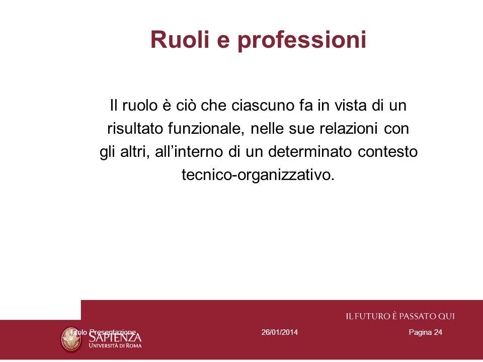 26/01/2014Titolo PresentazionePagina 24 Ruoli e professioni Il ruolo è ciò che ciascuno fa in vista di un risultato funzionale, nelle sue relazioni co