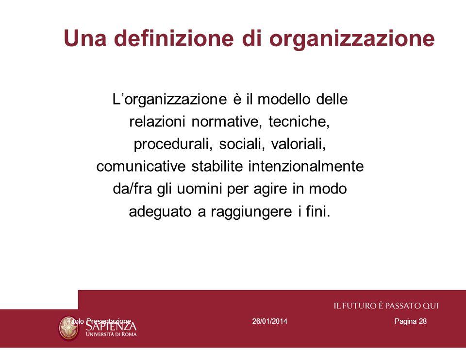 26/01/2014Titolo PresentazionePagina 28 Una definizione di organizzazione Lorganizzazione è il modello delle relazioni normative, tecniche, procedural