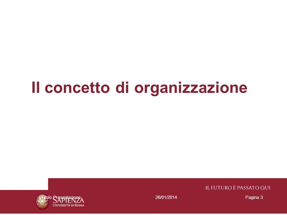 26/01/2014Titolo PresentazionePagina 3 Il concetto di organizzazione